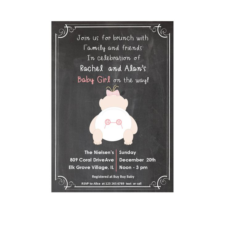 Chalkboard baby shower invitation coral and black