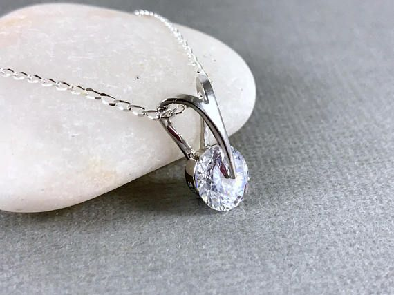 Crystal necklace Silver Necklace Pendant Necklace Dainty