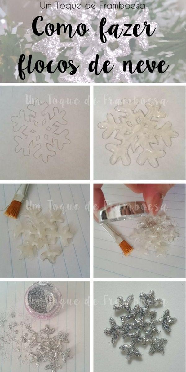 Como fazer flocos de neve com glitter para decoração #snowflakes