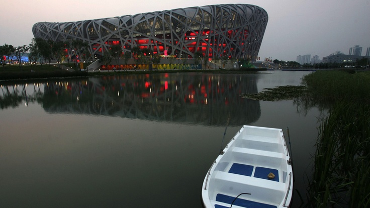 "The Beijing National Stadium known as the ""Bird's Nest"", Beijing, China, 2008. Architects: Herzog & de Meuron"