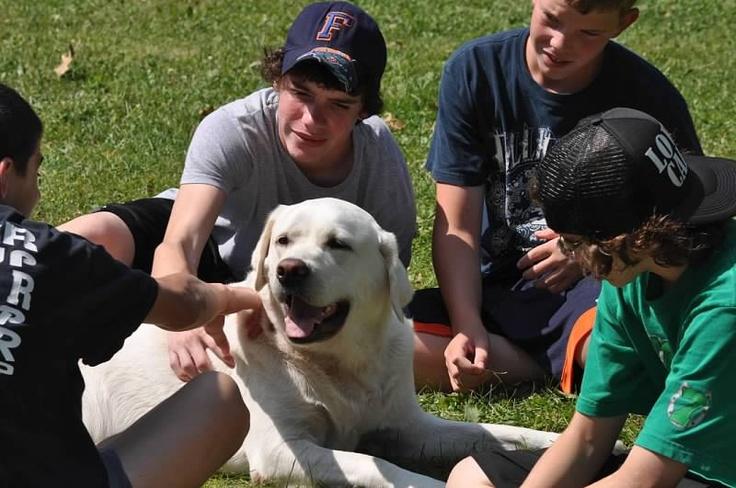 IZ loves hanging out with kids at camp. www.deerhorn.com
