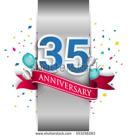 35th anniversary logo with silver label and red ribbon, balloons, confetti. thirty five Years birthday Celebration Design for party, and invitation card