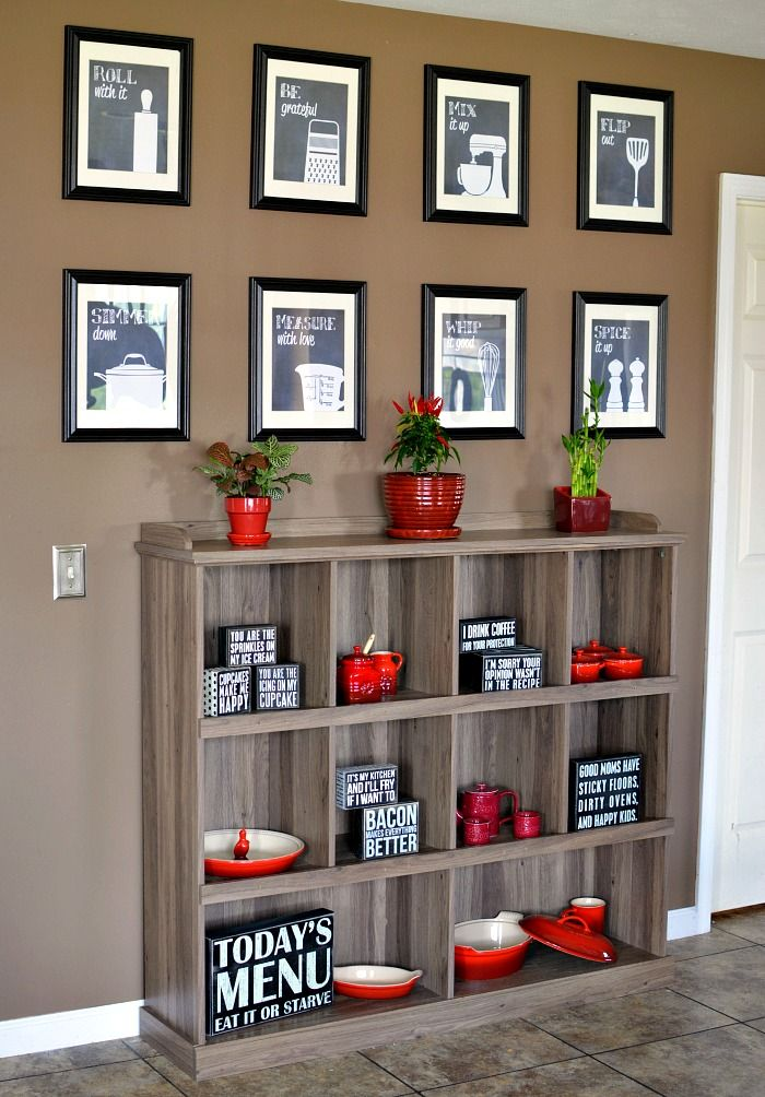 Decorate a Kitchen Wall with Decor and Sauder Bookcase