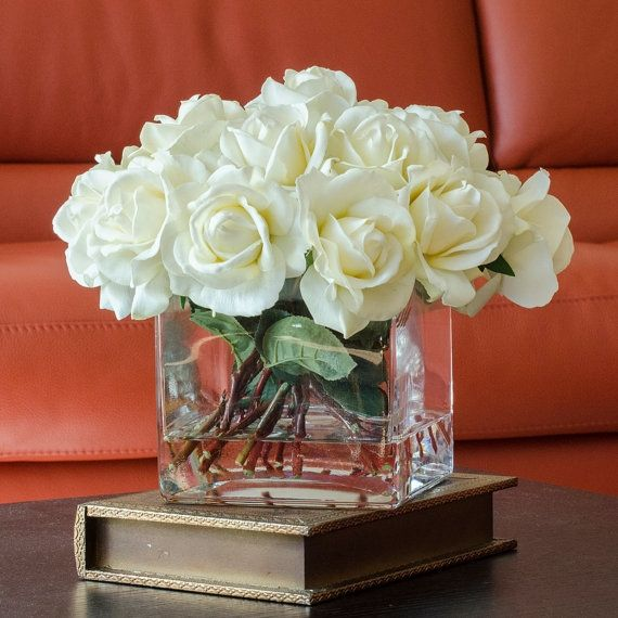 white real touch rose arrangement with square glass vase artificial flowers faux arrangement for home decor centerpiece