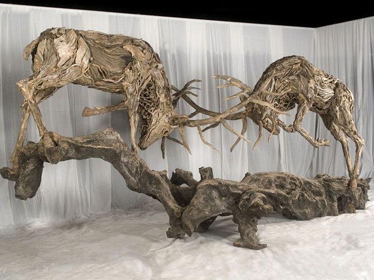 Amazing driftwood sculptures by James Doran Webb | Lisa Cox Garden Designs Blog