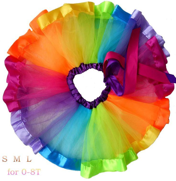 belababy Girls Tutu Skirt Rainbow Ruffle Tulle for Baby Dress Up