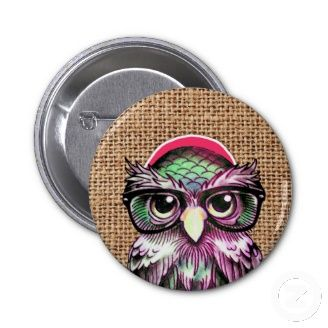 Popular Cool Pin Buttons. tattoo-style owl
