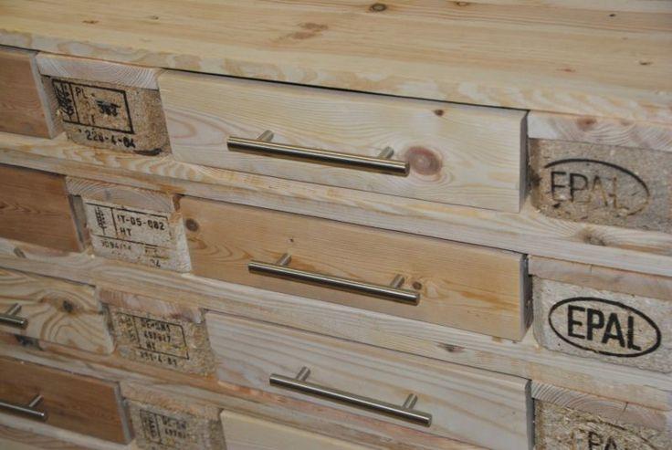 Sideboard, Schrank, Kommode aus EUROPALETTEN mit 10 Schubladen