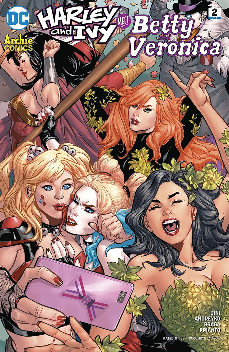 Harley & Ivy Meet Betty and Veronica (2017-) #2 It's her (father's) party and she'll cry if she wants to, because Veronica and Betty's killer costume idea was stolen by two crashers from Gotham City! Of course, she can't know that she's facing off with the real Poison Ivy, or that Betty's about to get bopped by Harley Quinn herself. Whoops!