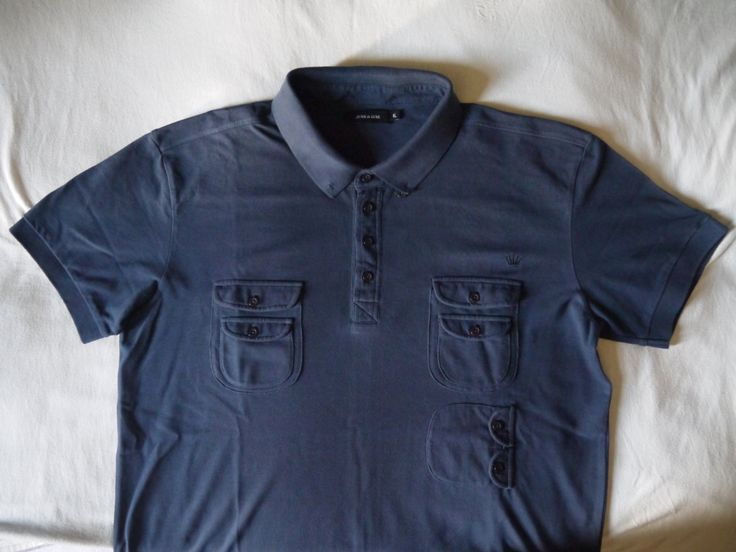 VERY RARE gorgeous vintage navy blue Junk de Luxe polo shirt XL size sportswear men pop short sleeves creator fashion it brand class style - pinned by pin4etsy.com