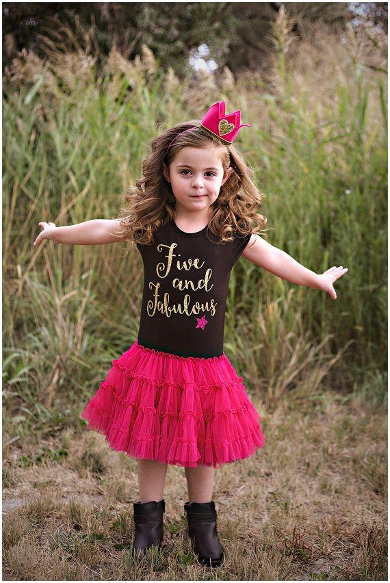 Birthday Rock Star Dress, Five and Fabulous Dress, Party Dress, Girls Couture Dress, Tween Dress, Gold Glitter Shirt, Gold Pink Party
