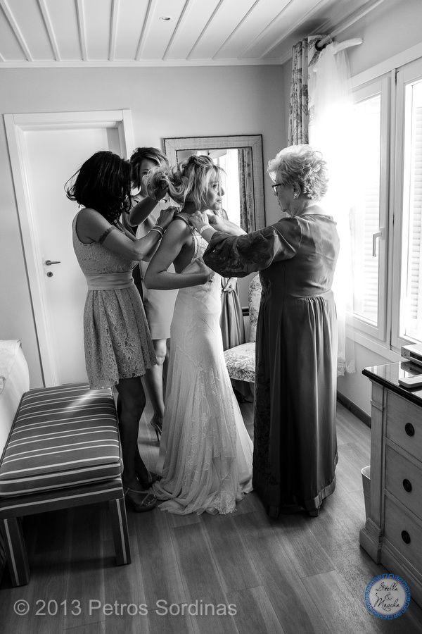 Bride getting ready | Mykonos Wedding @ Santa Marina by Stella and Moscha - Exclusive Greek Island Weddings | Photo Petros Sordinas