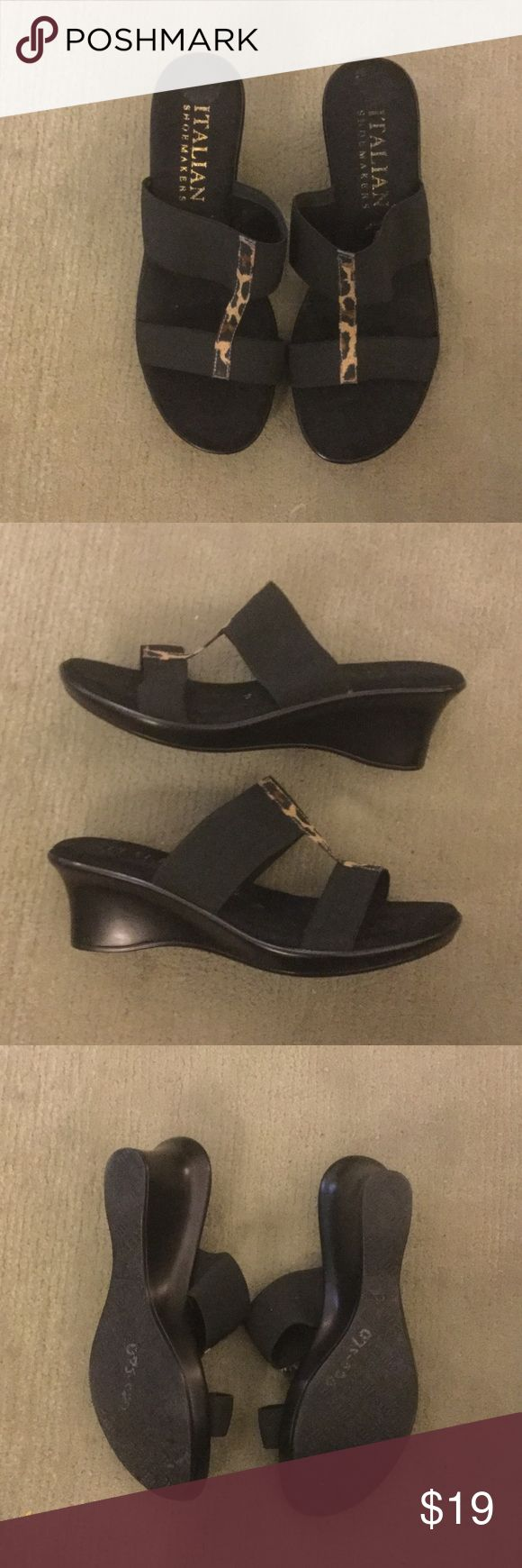 Pretty black and leopard wedge sandals Slip on wedge Sandler with cushioned footbed and stretchy elastic uppers.  Very good condition.  Only worn a couple times Italian Shoemakers Shoes Wedges