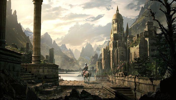 Fantasy City and Mountains     Fantasy - city Wallpaper
