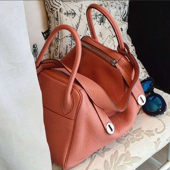 Hermes Lindy 30cm rose t clemence leather w palladium condition very good.. with dust bag ..