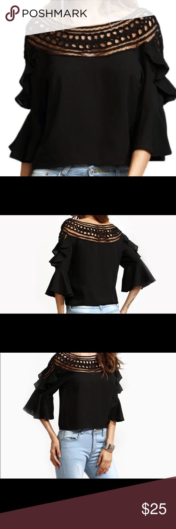 MAKE an OFFER !!! Crochet neck blouse top shirt SALE!!! Gorgeous blouse top with crochet lace neck. Make an offer!!! Tops Blouses