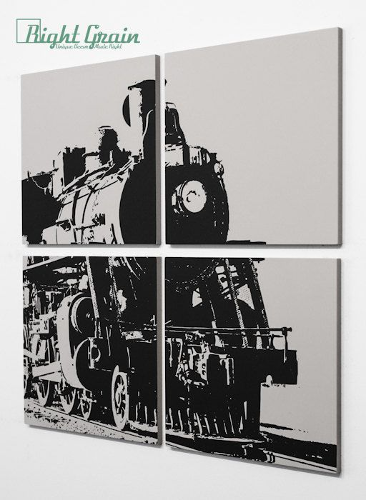 Old Freight Train Original Screenprint by Right Grain - Personalized Art Gift