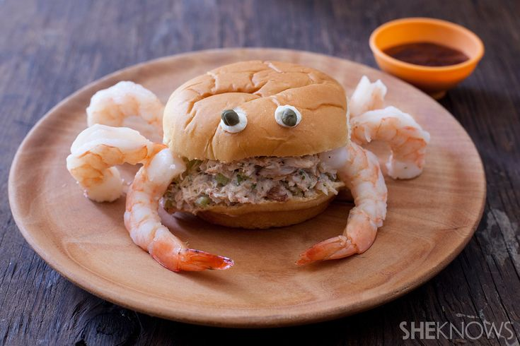 Crabby patty sandwich with shrimp and kid-friendly cocktail sauce recipe