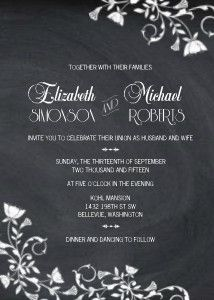 Eye-catching vines of flowers chalked onto a blackboard background create a memorable and romantic choice for your wedding invitation.