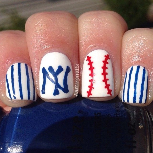 1000+ Ideas About Yankees Nails On Pinterest