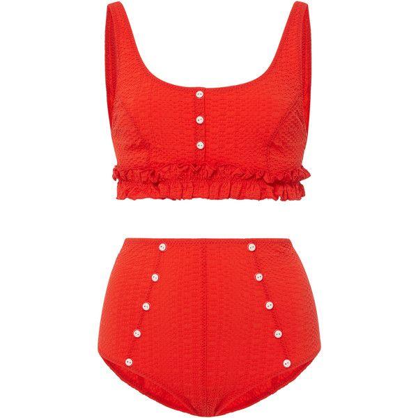 Lisa Marie Fernandez Colby Ruffle High Waist Bikini Set found on Polyvore featuring swimwear, bikinis, red, red high waisted bikini, frill bikini, high waisted swim wear, flounce bikini and high waisted bikini