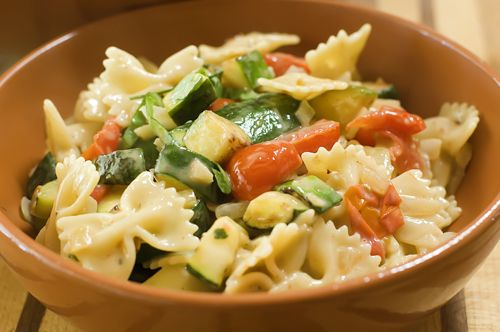 Farfalle with zucchini & Grape (or Cherry) Tomatoes