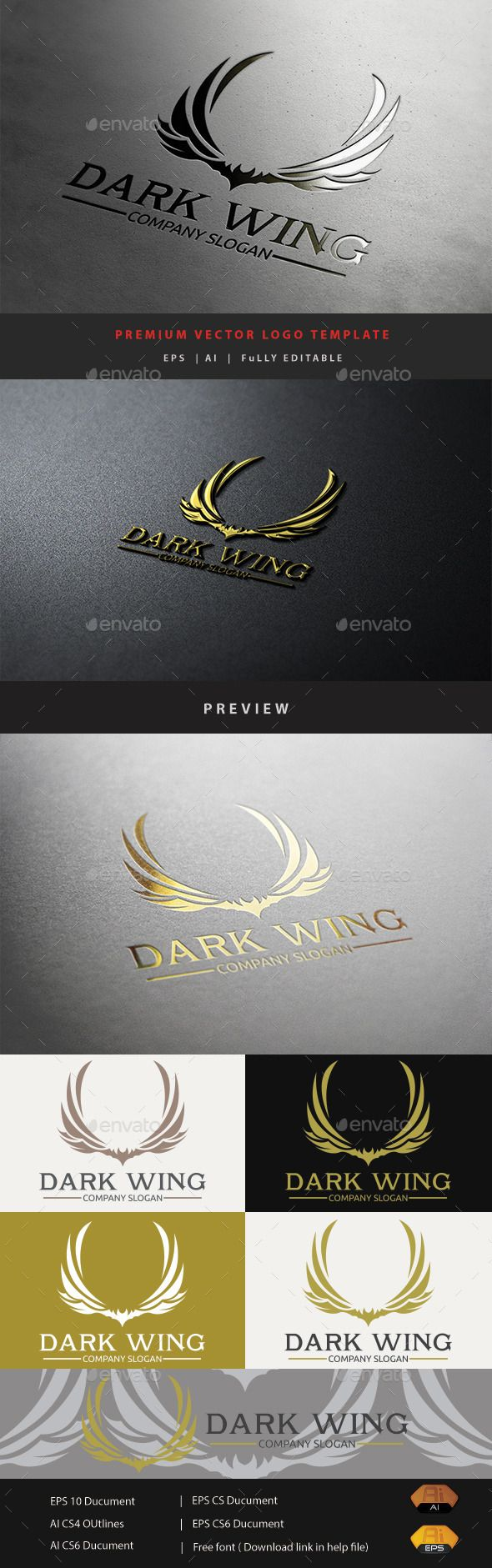 Dark Wing Logo Tempalte #design #logotype Download: http://graphicriver.net/item/dark-wing/10929488?ref=ksioks