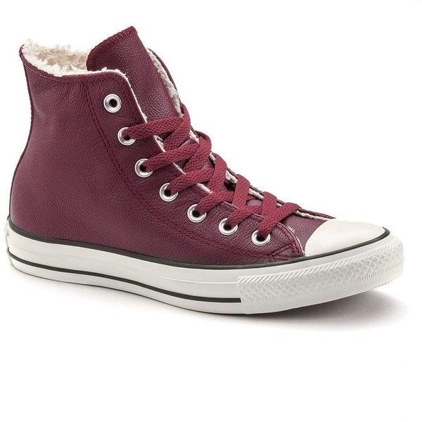Adult Converse All Star High-Top Sneakers, Size: 10, Red (Wine) ($70) ❤ liked on Polyvore featuring shoes, sneakers, red, converse trainers, red shoes, lace up shoes, red high tops and red hi top sneakers