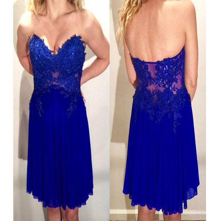 Strapless blue lace dress