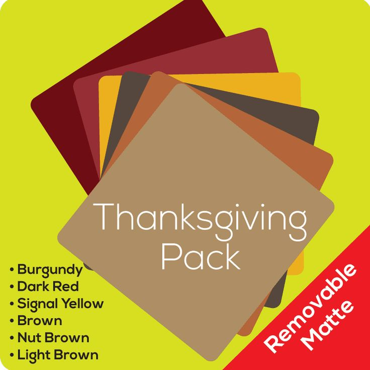 Matte Thanksgiving Pack (removable)Our Thanksgiving pack is the perfect mix of colors for this wonderful holiday! Gear up for a day devoted to family, reflection, and possibly most of all… great food! The Thanksgiving pack includes all of the essential shades that you need to create a perfect projec