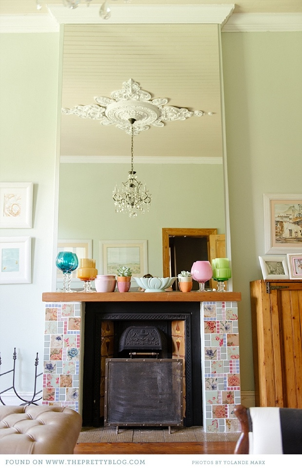paarl family home, DIY glass tile fireplace surround, gorgeous colors throughout home, vintage farmhouse, ceiling medallion