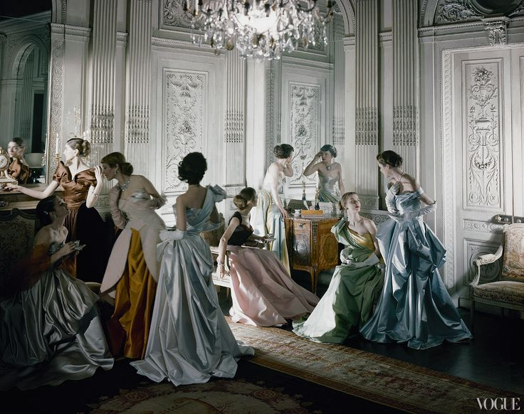 Vogue, June 1, 1948  Cecil Beaton's iconic image of Charles James ball gowns, photographed in the salon of French & Co., New York. Photographed by Cecil Beaton. #interiorfinishings #trimwork  #inspiration