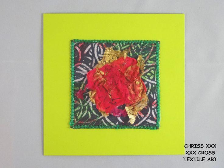 Kunstkaart / Mail Art van Kunst per post Afmeting kaart: 13x13cm (bxh) Afmeting kunstwerk: 8x8cm (bxh) Kleur: roze- groen
