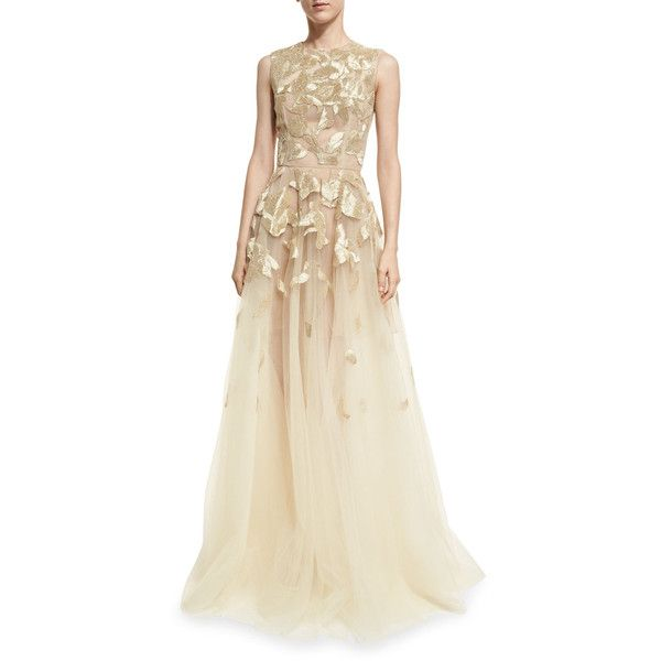 Oscar de la Renta Sleeveless Wire-Embroidered Tulle Gown ($11,500) ❤ liked on Polyvore featuring dresses, gowns, embroidered gown, brown sleeveless dress, brown evening dress, brown evening gowns and embroidery dress