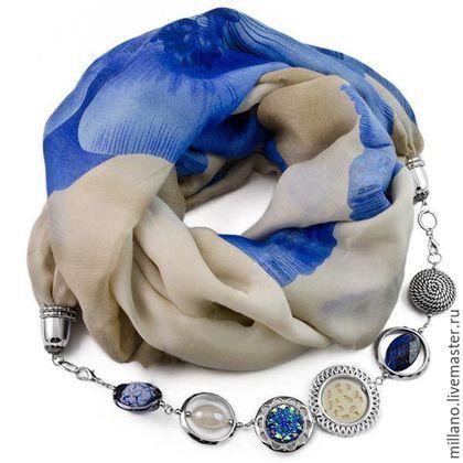 Шарфы и шарфики ручной работы. Ярмарка Мастеров - ручная работа. Купить Хлопковый Шарф ожерелье с бижутерией синий…