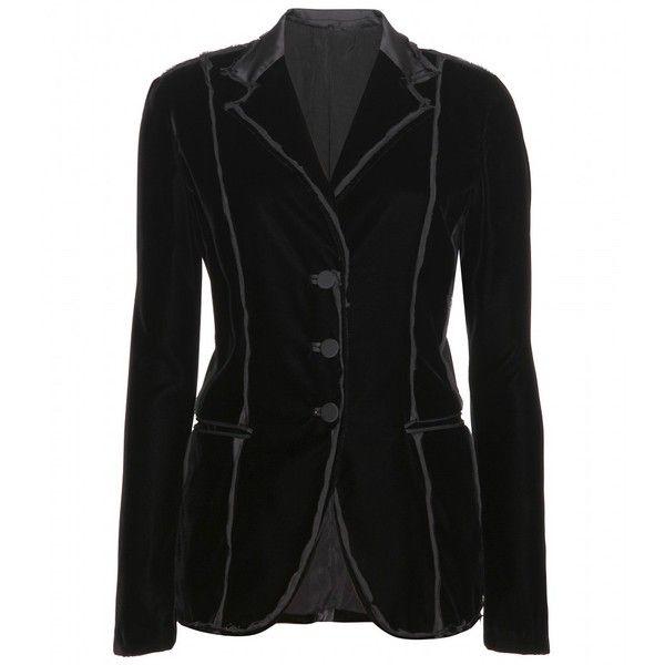 Bottega Veneta Velvet Blazer With Silk Trim ($2,320) ❤ liked on Polyvore featuring outerwear, jackets, blazers, tops, black, bottega veneta jacket, blazer jacket, velvet blazer, bottega veneta and deconstructed blazer
