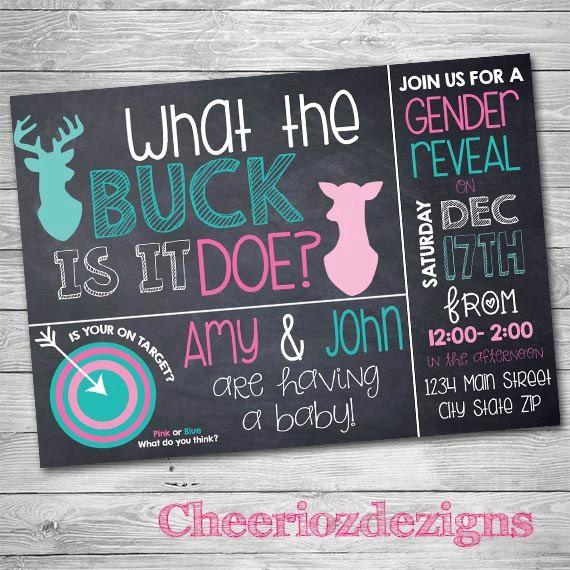 Buck or Doe Gender Reveal Deer Gender Reveal by CheeriozDezigns