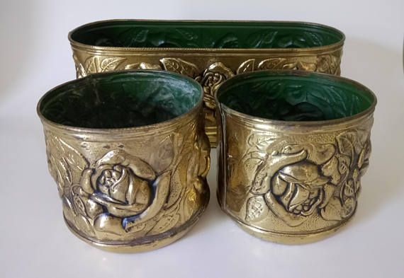Antique Vintage Brass Planters Made In England Stamped