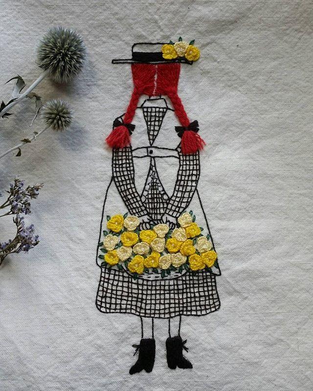 빨간머리앤~ 뒷모습이 예뻐서 수놓기시작... 으음~~ 오래걸렸네! #Anne of green gables with illustration embroidery #Illustration embroidery #일러스트자수 #빨간머리 앤 일러스트자수