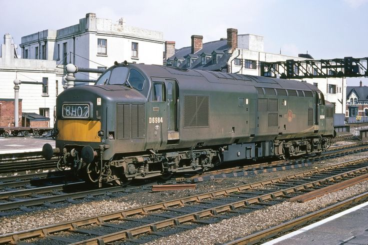 EE Type 3 Co-Co no. D6984 stands at Cardiff General 4th April 1968 Kodachrome II (Hi-Res scan)
