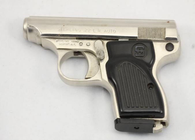 Sterling model 302 semi automatic striker fired pistol chambered in .22 L.R., with a stainless steel frame, and one magazine. Serial number A36932. One grip does not stay attached.