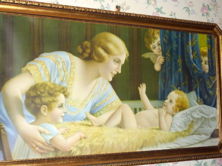 """Details about 1920's Orig. Gilded Frame 42"""" Lithograph Fr ..."""