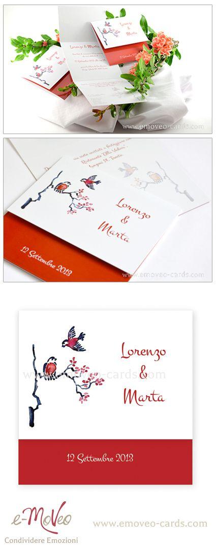 Wedding Invitation card - red watercolour - Chinese painting style Partecipazione invito matrimonio rosso con acquerello in stile pittura cinese Rot Hochzeitseinladungen www.emoveo-cards.com