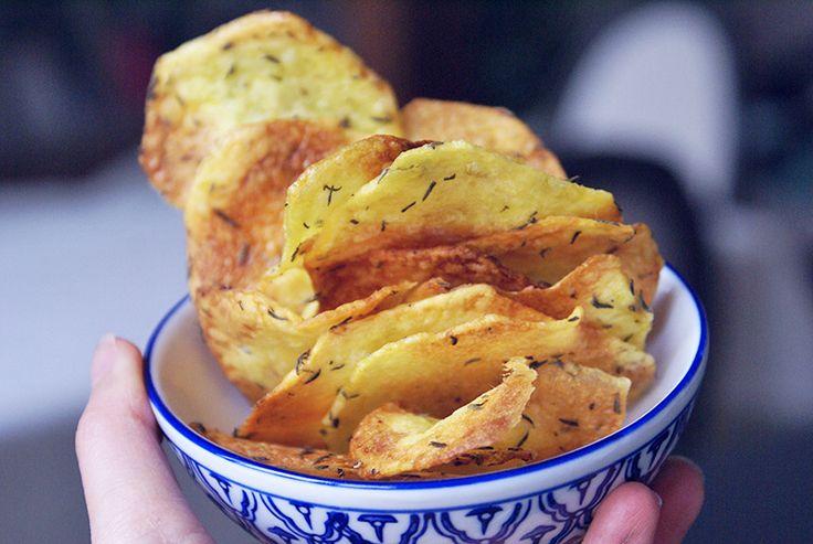 Chips de pommes de terre à l'huile d'olives et au thym sans gluten sans lactose vegan