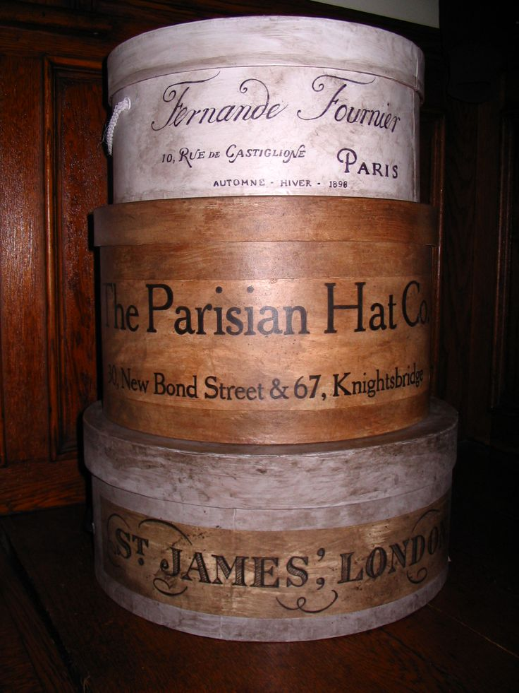 Antiqued hat boxes