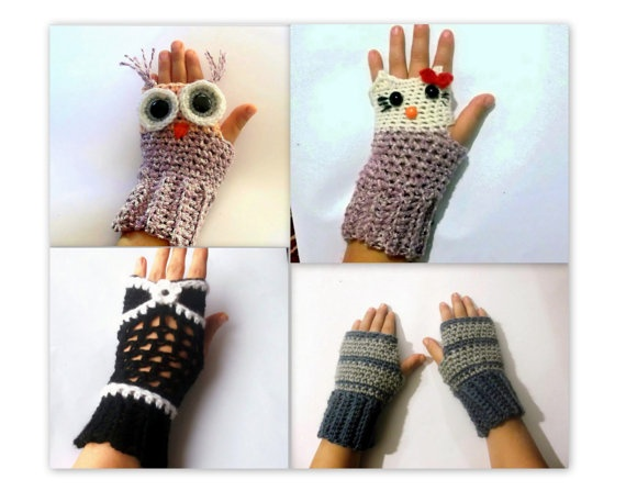 Free Crochet Pattern For Owl Hand Warmers : Fingerless Gloves CROCHET PATTERN, Owl Gloves, Hello Kitty ...