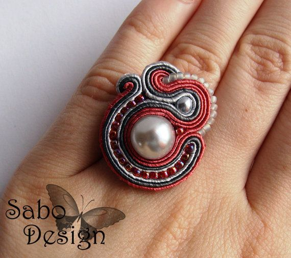 ROMANTIC soutache ring embroidered handmade in pink by SaboDesign, $19.00
