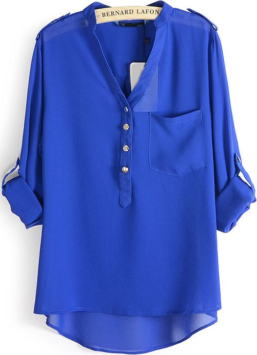 Online shopping for Blue V Neck Epaulet Dip Hem Chiffon Blouse from a great selection of women's fashion clothing & more at MakeMeChic.COM.