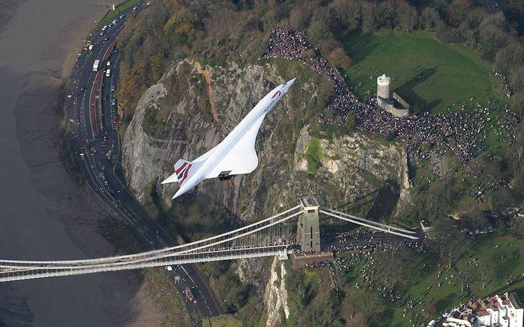 Concorde flies over Clifton Suspension Bridge in Bristol #Concorde #BritishAirways