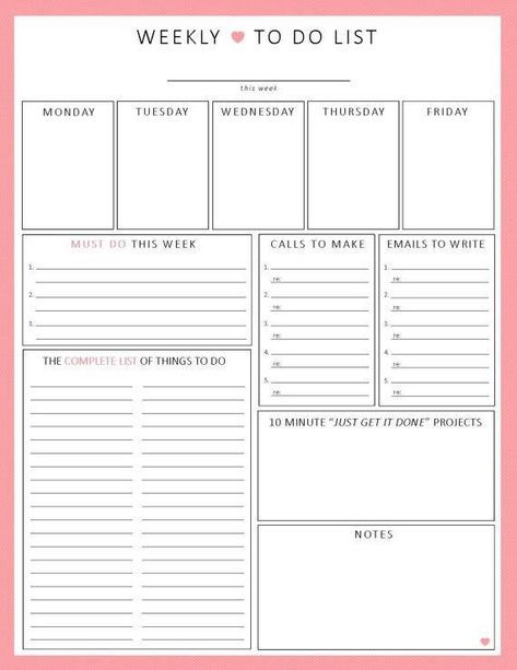 Blank Printable Weekly To Do Checklist journals/records Weekly
